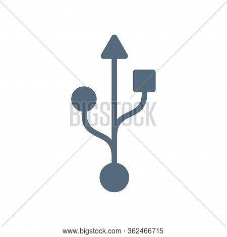 Usb Symbol Outline Icon. Vector Illustration Isolated On White Background
