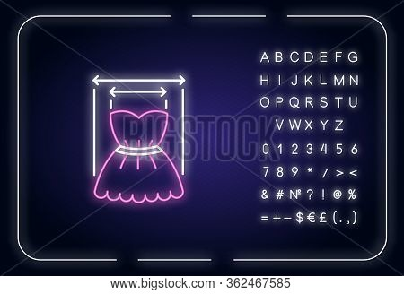Product Width Neon Light Icon. Outer Glowing Effect. Measuring Clothing Size, Bespoke Dress Tailorin