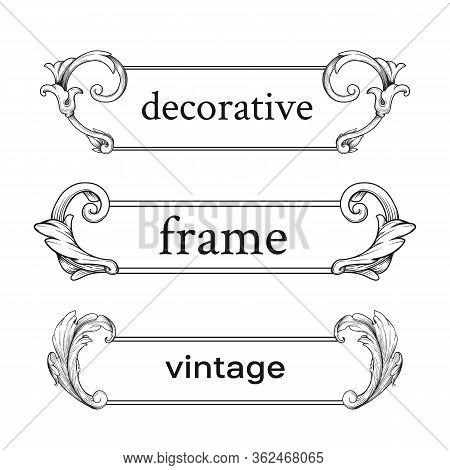Scroll Ornament Engraving Border Floral Decorative Design Element.