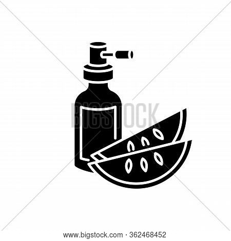Kalahari Melon Seed Oil Black Glyph Icon. Dermatology Product For Haircare. Reparative Essence. Orga