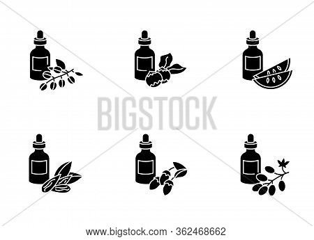 Hair Oils Black Glyph Icons Set On White Space. Avocado Beauty Product. Kalahari Melon Seed Essence