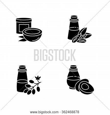 Hair Oils Black Glyph Icons Set On White Space. Jojoba Essence For Healthy Nourishment. Keratin Form