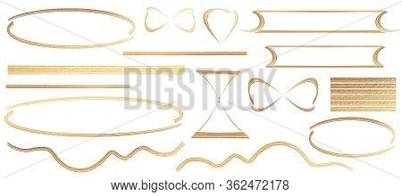 Set Of Gold Frames, Luxury Glitter Illustration With Heart, Rectangle, Triangle, Oval Borders And St