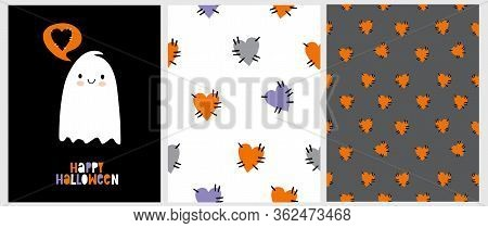 Lovely Hand Drawn Illustration With Cute Ghost Isolated On A Black Background. Funny Halloween Party