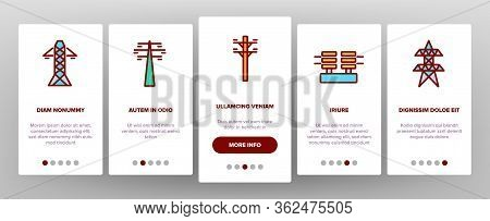 Power Line Electricity Onboarding Icons Set Vector. Power Line Tower And Electric Wire Cord, Transfo