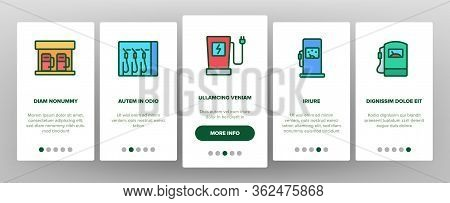 Petrol Station Tool Onboarding Icons Set Vector. Automobile Petrol Fuel Service Equipment And Nozzle