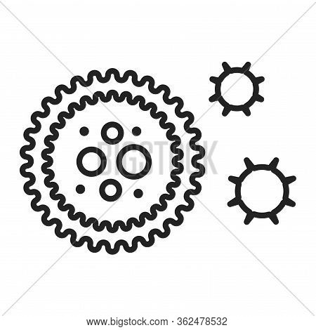 Virus Black Line Icon. Bacteria, Microorganism Sign. Pictogram For Web Page, Mobile App, Promo.edita