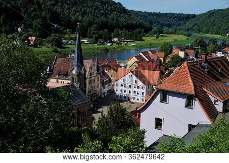 Closer View Over The Market Square And The City Stadt Wehlen With The Elbe River In Saxon Switzerlan