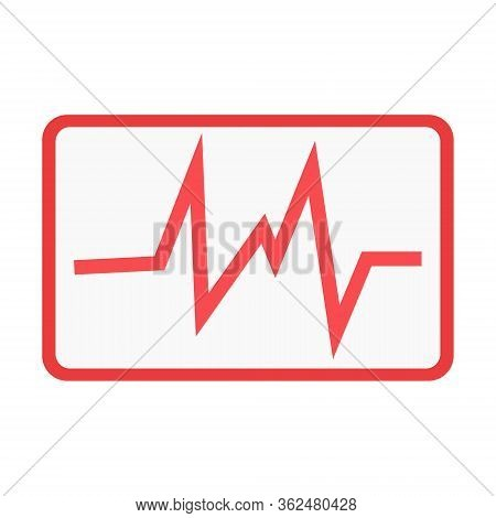Heartbeat Diagram Icon In Trendy Flat Style Isolated On White Background. Heartbeat Diagram Symbol F