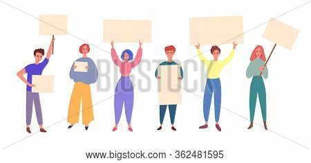 Group Of Diverse People Holding Blank Banners, Flat Vector Illustration Isolated.