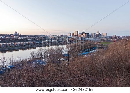 Saint Paul Riverfront And Downtown Skyline At Twilight