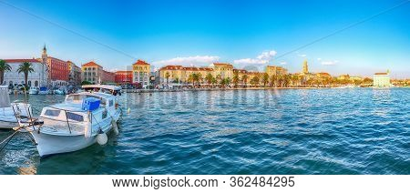 Amazing View Of The Promenade The Old Town Of Split With The Palace Of Diocletian And Marina.  Locat