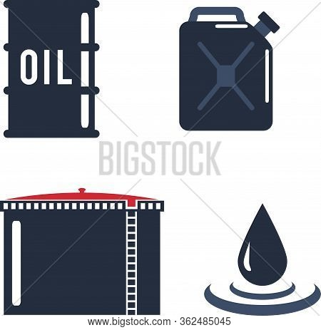 Motor Oils Blank Jerrycan Canister Icon In Flat Style. Vector Simple Illustration Of Different Canis