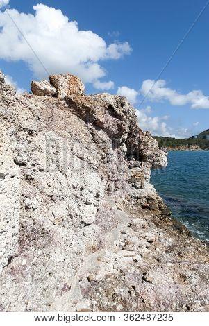 The Eroded Coastline In Red Point Peninsula On St. Thomas Island (u.s. Virgin Islands).