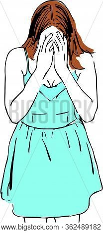 Outline Girl In A Dress Covered Her Face With Her Hands. Colourful Vector Illustration Of Person. Th