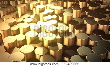 3d Rendering Of Abstract Cylindrical Geometric Golden Surfaces In Virtual Space. Randomly Placed Geo