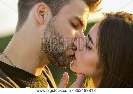 Lovely Date. Kissing Couple Portrait. Delicate Gorgeous Kiss. Man Kiss Woman. Couple In Love. I Love