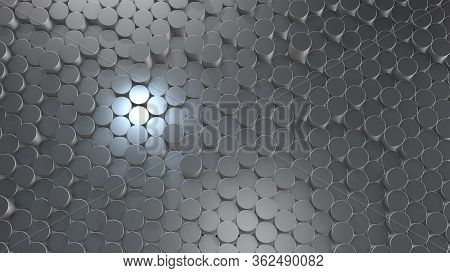 3d Rendering Of Abstract Cylindrical Geometric Aluminum Surfaces In Virtual Space. Randomly Placed G