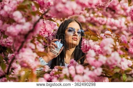 Toilette Water. Spa And Beauty. Enjoy The Beauty Of Your Fragrance. Sexy Woman Hold Perfume Bottle.