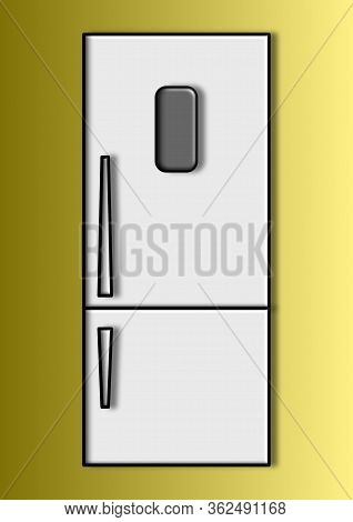 Vector Image Of A Household Refrigerator With Place For Text. Household Appliances. Two-chamber Refr