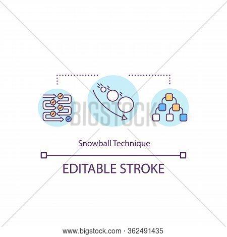 Snowball Technique Concept Icon. Research Strategy. Sociological Survey. Idea Generation. Snowball S