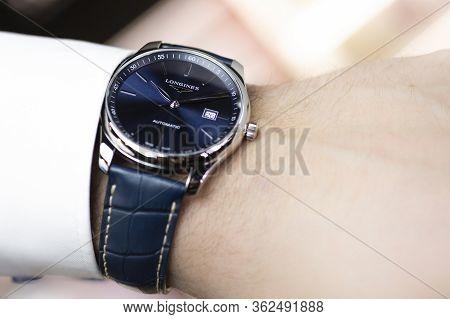 Saint-imier, Switzerland 31.03.2020 - Closeup Fashion Image Of Longines Watch On Wrist Of Man Longin