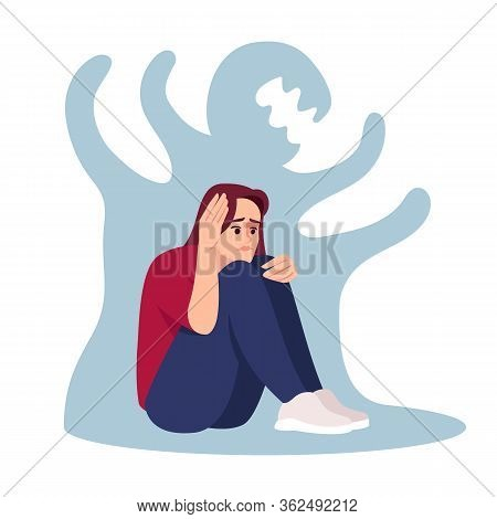 Girl With Schizophrenia Semi Flat Rgb Color Vector Illustration. Stressed Woman Isolated Cartoon Cha