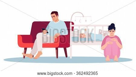 Postpartum Depression Semi Flat Rgb Color Vector Illustration. Stressed Young Parents Isolated Carto