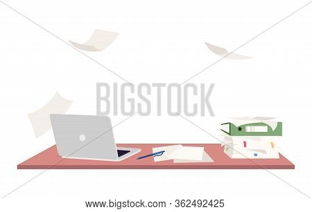 Empty Workplace Semi Flat Rgb Color Vector Illustration. Overloaded Office Desk With No People Isola