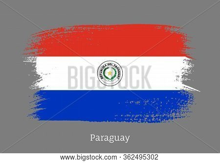 Paraguay Republic Official Flag In Shape Of Paintbrush Stroke. Paraguayan National Identity Symbol F