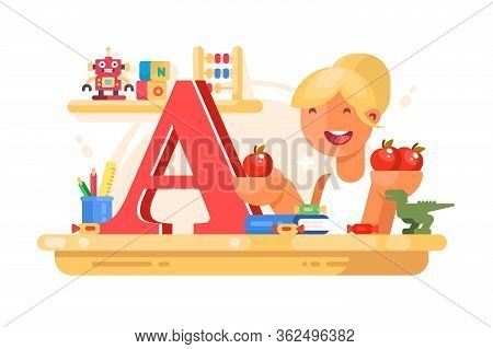 Teacher Of Elementary Grades At Lesson Vector