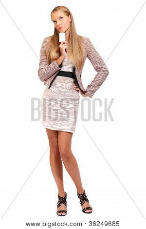 Sexy Business Woman Holding A Blank Business Card