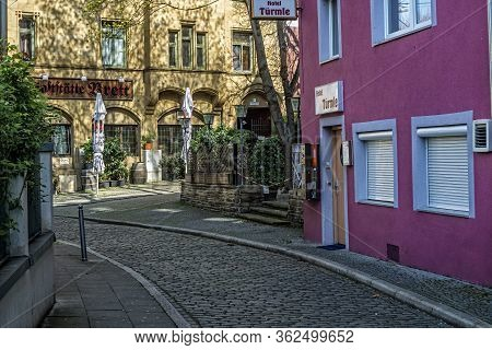 Stuttgart,germany - March 28,2020:katharinenplatz This Is The Entrance Of The Small Hotel Tuermle,wh
