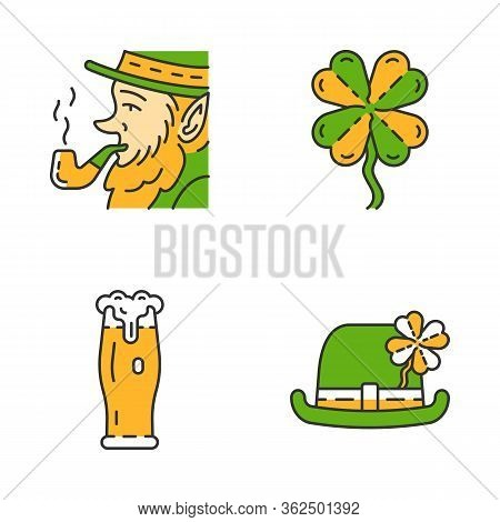 Saint Patrick S Day Color Icons Set. Feast Of St. Patrick. Bowler Hat, Leprechaun With Pipe, Glass O