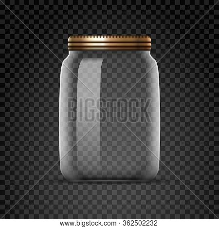 Empty Glass Jar Isolated On Transparent Background. White Lid Bottle Jar With Metal Cap