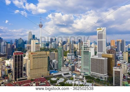 Kuala Lumpur, Malaysia - April 19, 2020: Aerial View Of Kuala Lumpur Cityscapes Skyline. Banking Bui