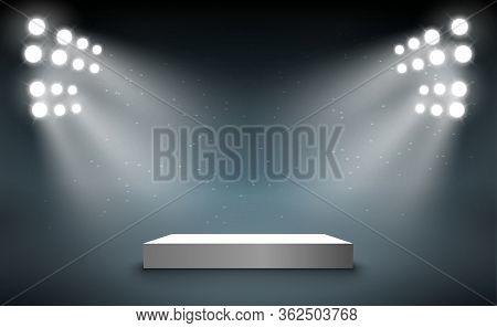 Stage Podium With Light Presentation Pedestal. Award Illuminated Show Spotlight Stage Design