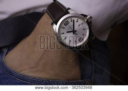 Saint-imier, Switzerland 31.03.2020 - Closeup Fashion Image Of Longines Watch On Wrist Of Man: Mans