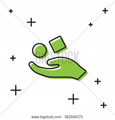 Black Cube Levitating Above Hand Icon Isolated On White Background. Levitation Symbol. Vector Illust