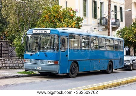 Sparta, Greece - February 8, 2019: An Old Legendary Mercedes-benz Oh Series Bus In The Streets Of Sp