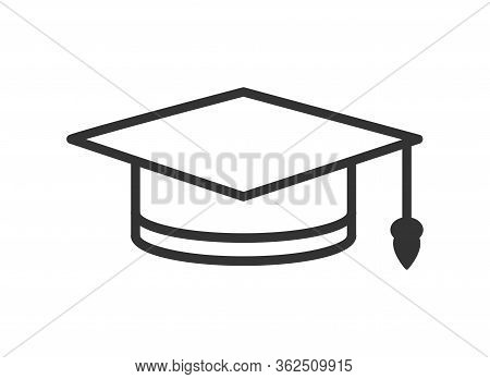 Simple Vector Graduate Hat Icon. Simple Stock Design Isolated On A White Background For Websites And