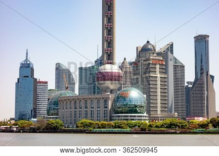 Shanghai, China - April, 13, 2019: Cityscape And Detail Of Bottom Part Of Skyscrapers In Shanghai Vi