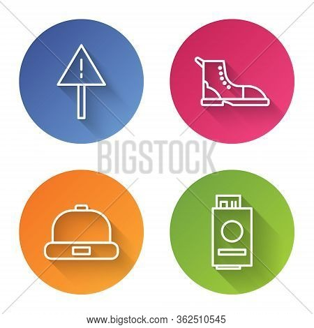 Set Line Exclamation Mark In Triangle, Hiking Boot, Beanie Hat And Passport With Ticket. Color Circl