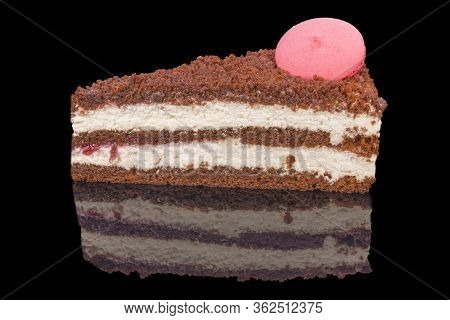 A Gourmet Piece Of Raspberry Extravaganza Cake, Torte With Reflection, Isolated On Black Background