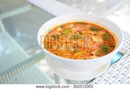 Squid Tom Yam , Spicy And Sour Squid Soup. Traditional Thailand Food