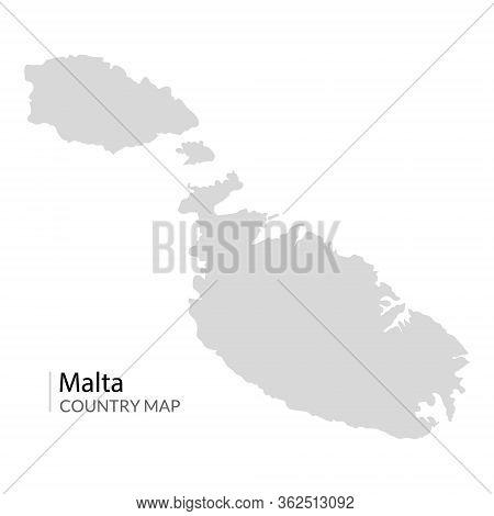 Malta Island Vector Map Illustration. Maltese Republic Contour Country Map.