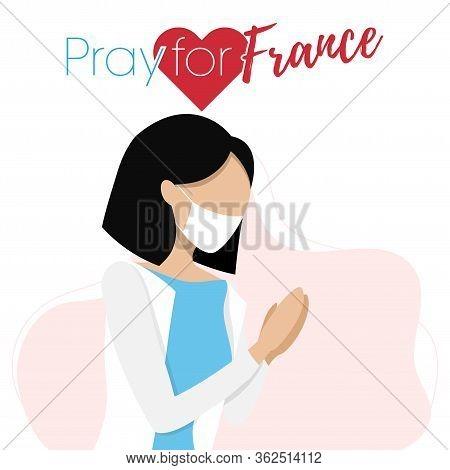 Covid-19 Virus Outbreak In Italy. Pray For Italy, Coronavirus Concept. Woman Praying For Italian. Ve