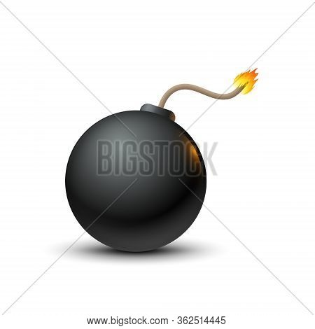 Bomb Vector Icon, Realistic Dynamite Violence Illustration. Bomb Fuse Threat Symbol