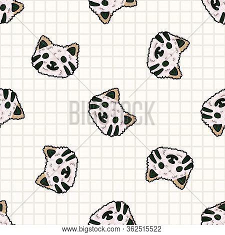 Kawaii Cat Onigiri Japanese Rice Seamless Vector Pattern. Hand Drawn Oriental Seaweed Roll Rice Ball