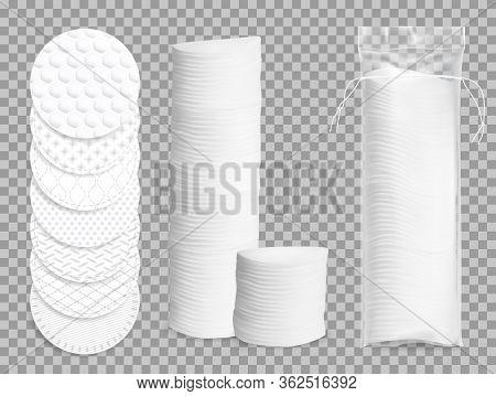 Realistic Cotton Pads 3d Vector Isolated Mockup. Makeup Soft Discs In Plastic Package, Face Hygiene